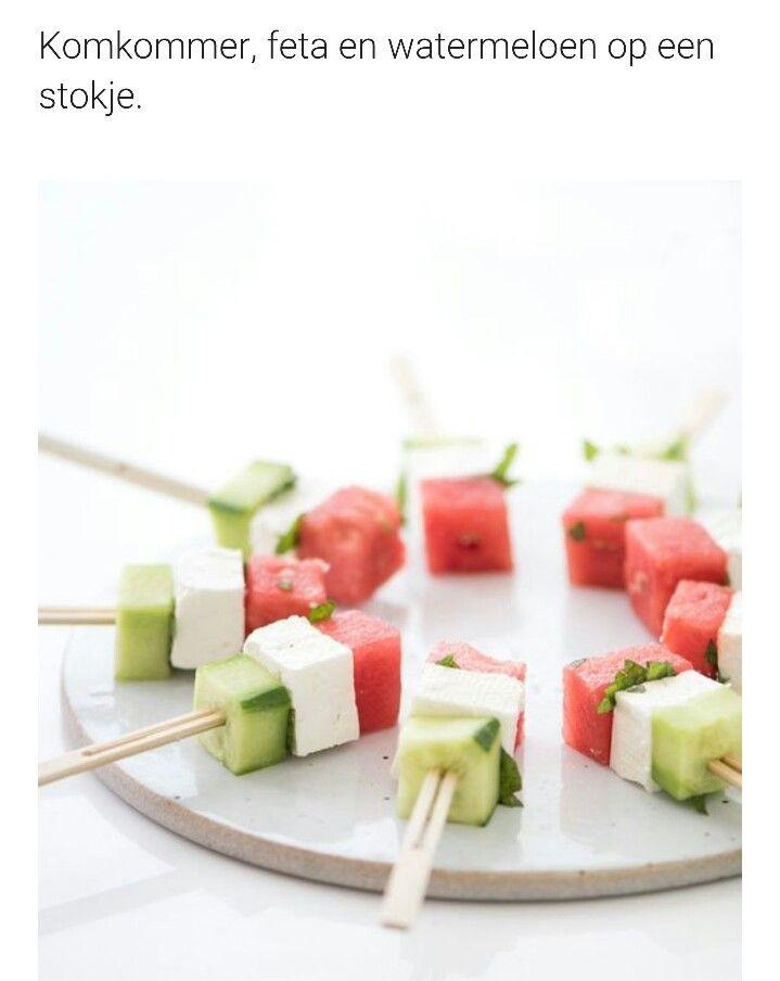 Komkommer feta watermeloen