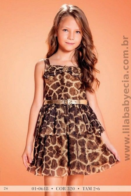 Vestido Infantil Estampado Onça Diforini Moda Infanto Juvenil