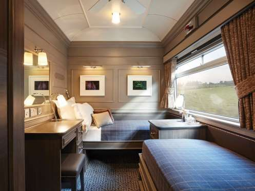 BELMOND GRAND HIBERNIAN, IRELAND  Here, a classic aesthetic evokes Dublin's Georgian architecture, with various tartans providing colorful accents. The longest of the train trips—which range from 2 to 6 days—explore both the Republic of Ireland and Northern Ireland, including stops at Jameson's whiskey distillery, Blarney Castle & Gardens, and Belfast's Titanic museum.