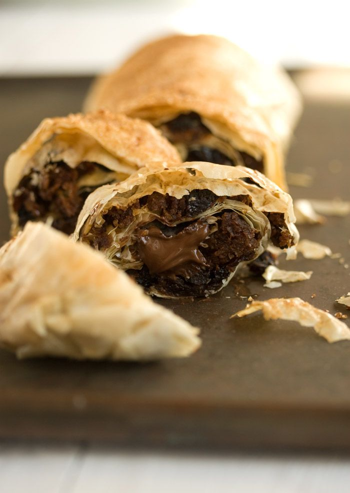 Christmas pudding strudel with chocolate -- looks delicious