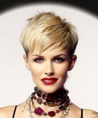 Light Blonde Pixie Cut with Razor Cut Bangs
