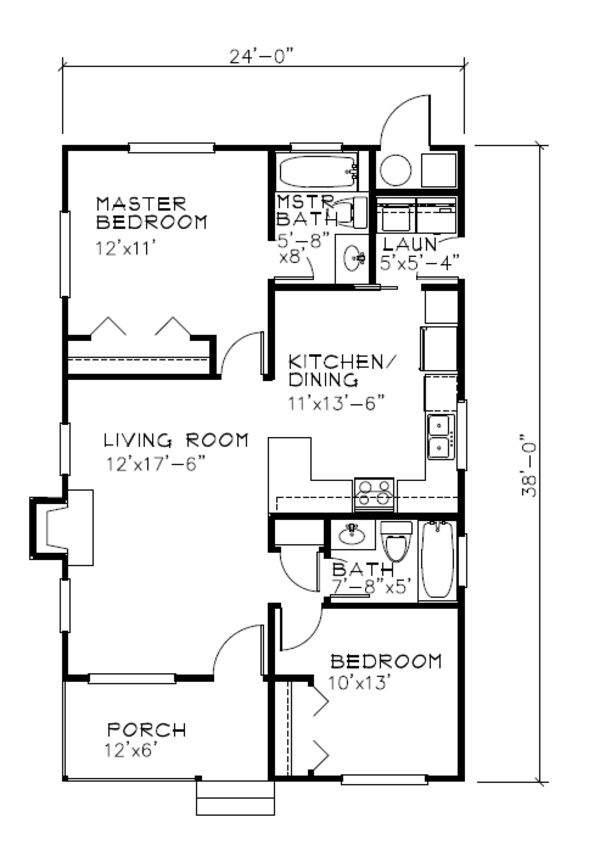 Cottage Style House Plan - 2 Beds 2 Baths 838 Sq/Ft Plan #515-18 Floor Plan - Main Floor Plan - Houseplans.com