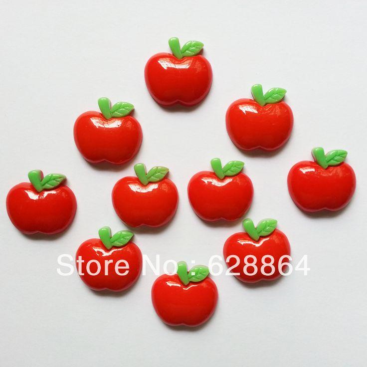 """Groothandel 50 stuks 1"""" rode appel plaksteen hars cabochons flats scrapbooking versieringen voor haar boog"""