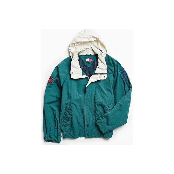 Vintage Tommy Hilfiger Green '90s Prep Sport Windbreaker Jacket ❤ liked on Polyvore featuring activewear, activewear jackets, vintage sportswear and sports activewear