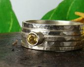 Citrine ring 4mm,Sterling Silver 935,Handmade,Stacking Rings