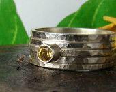 Citrine ring 4mm,Sterling Silver 935,Handmade,Stacking Rings