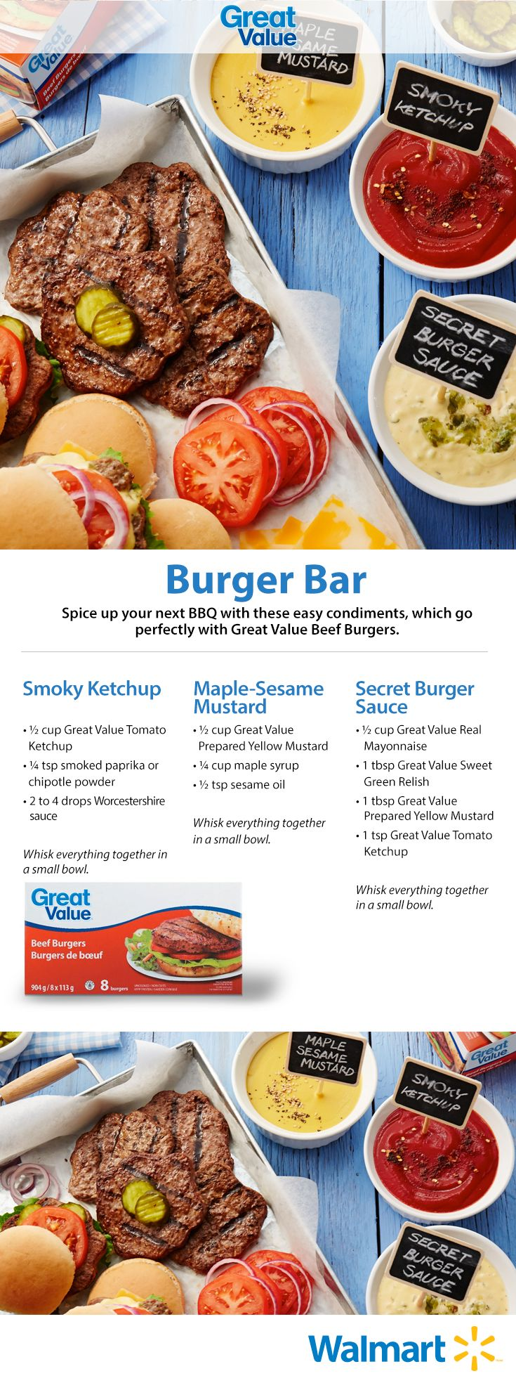 Spice up your burger with sweet and savoury sauces made with Great Value's yummy burgers! #makesummergreat