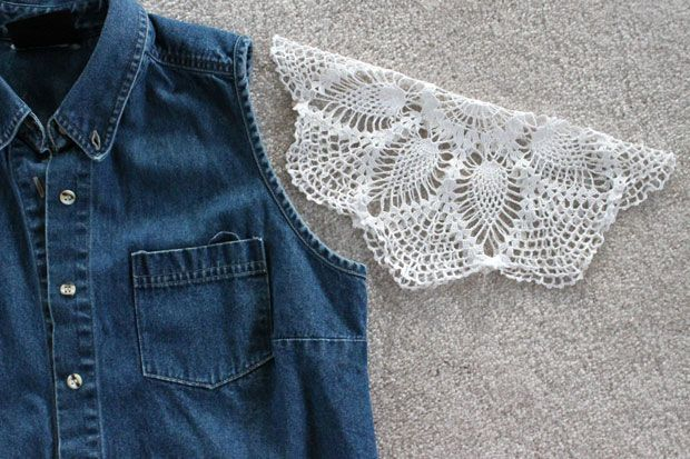 Denim is such a rugged and strong fabric. Doilies are so delicate and fragile. Combine these completely different textiles and create a delightful dichotomy by adding doily sleeves to anordinary denim vest. Use two round doilies with the same pattern …