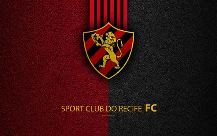 Download wallpapers Sport Club do Recif FC, 4K, Brazilian football club, Brazilian Serie A, leather texture, emblem, logo, Recife, Pernambuco, Brazil, football
