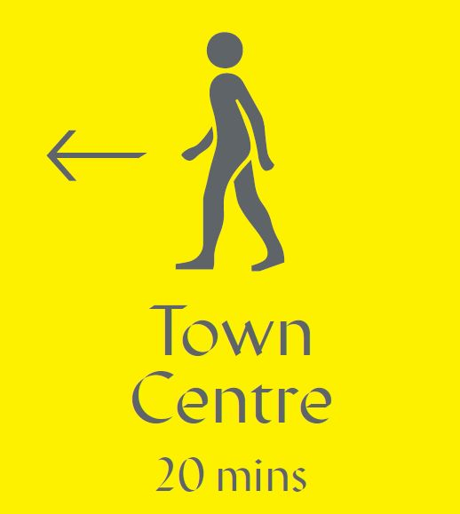 This graphic will be the first wayfinding element you see when leaving the platform at Colchester Station. It will be positioned in the underpass at the station and will clearly show the way to the town centre. Note the bright yellow colour, which will be repeated along the route.