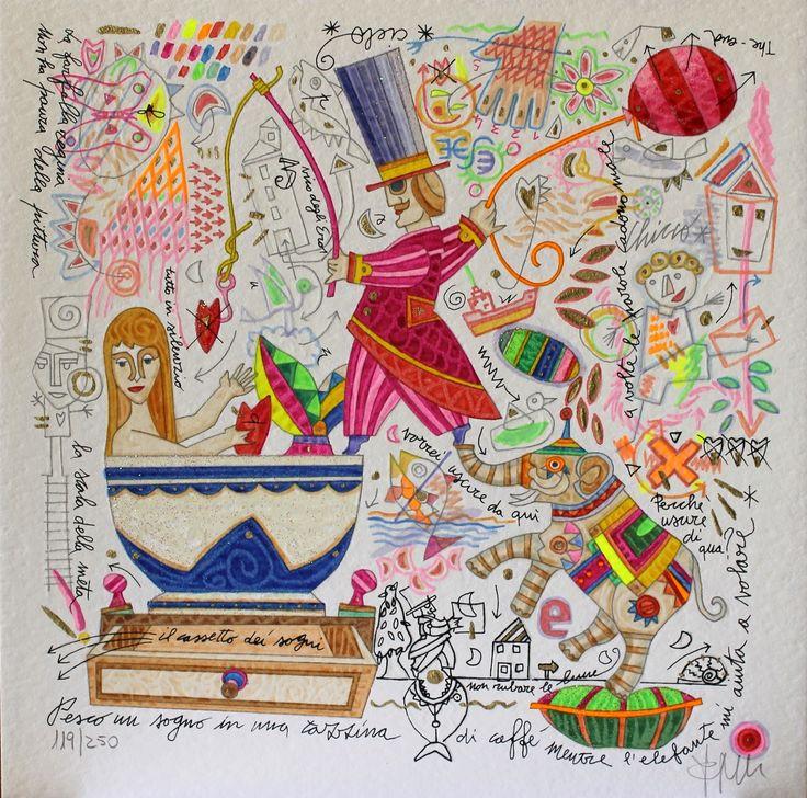 Pesco un sogno in una tazzina... Francesco Musante, Serigrafia polimaterica + glitter #gliartistidiGALP