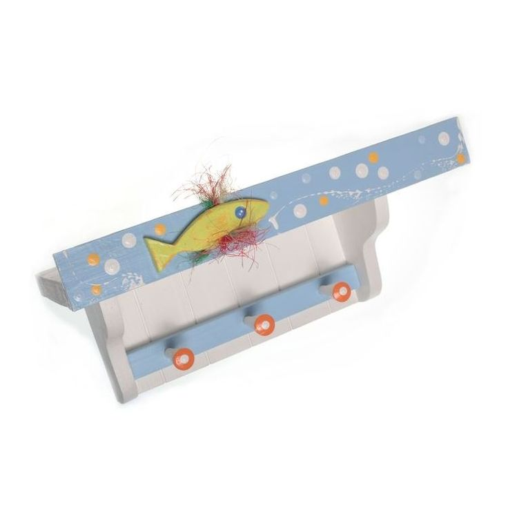 Wall-mounted Wooden Shelf with Hooks & Hand-painted Fish