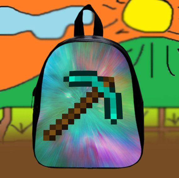 Minecraft Diamond Sword  Custom SchoolBags Backpack by KopiHitam55