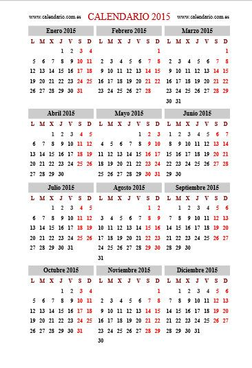 almanaque 2015 para imprimir gratis - Buscar con Google
