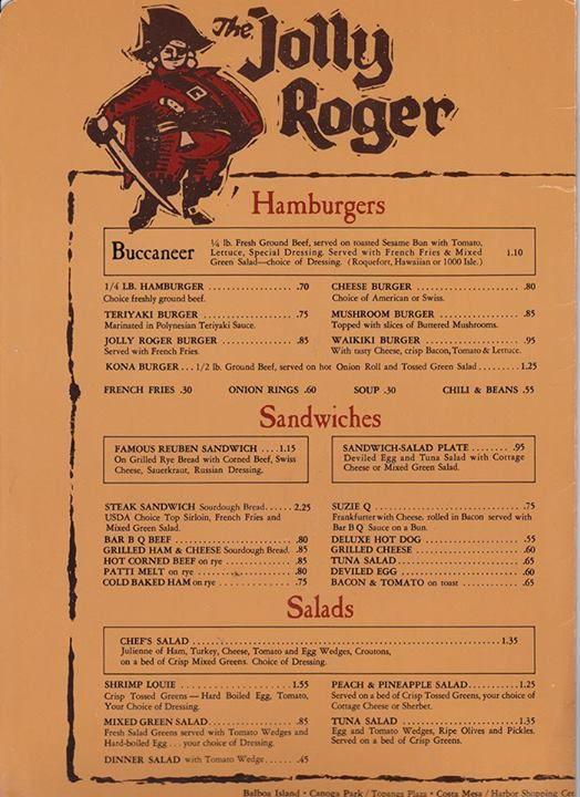 Jolly Rogers - Menu - Topanga Plaza - 1966 | Vintage ...