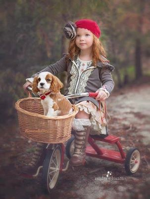 Reminds me of my own childhood...except I pulled my beagle dog around in my little red Flyer wagon.