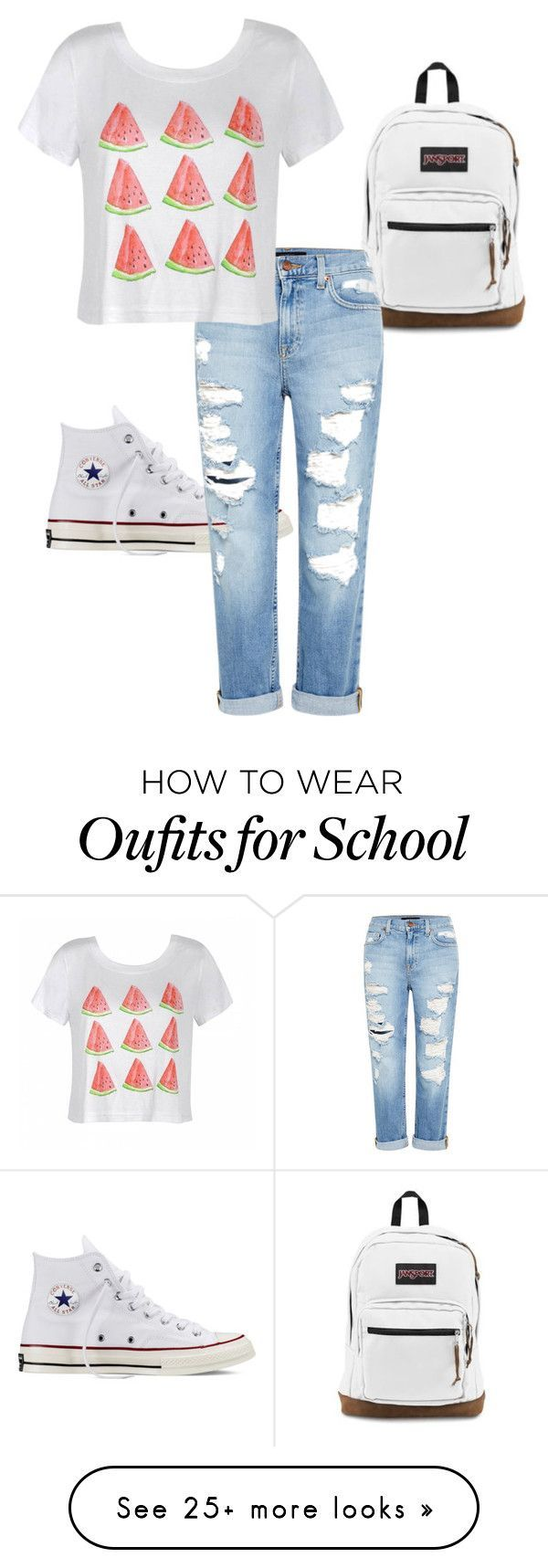 """School"" by sarahhotten-1 on Polyvore featuring Converse, JanSport, Genetic Deni..."