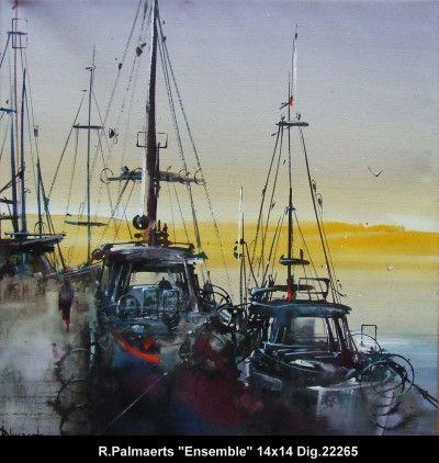 Original multimedium painting on canevas by Roland Pamaerts #Palmaerts #art #figurativeart #CanadianArt #originalartwork #mixtmedia #quebecartist #canadianartist #harborscene #boats #contemporaryart #fineart #balcondart #multiartltee