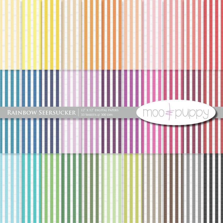 Seersucker Digital Scrapbook Paper Pack Rainbow by mooandpuppy.