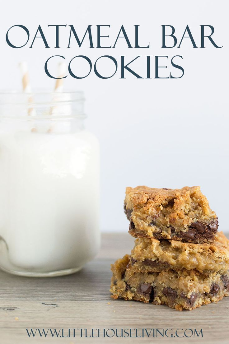Sometimes one just needs a little treat to get you through the afternoon and this chewy Oatmeal Bar Cookie recipe with a hint of chocolate is perfect!