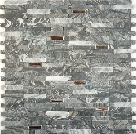 Davinci Metal And Stone Random Bricks Interlocking Polished Stainless Steel And Grey Stone Tiles