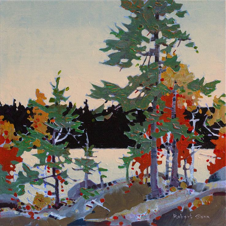 """Counterpoint with Red"" Robert Genn, Canadian Artist #tree #landscape #art"