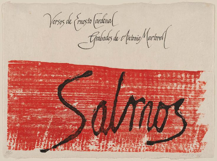 Frontispiece to the portfolio Los Salmos (The Psalms) illust Antonio Martorell , Text by Ernesto Cardenal