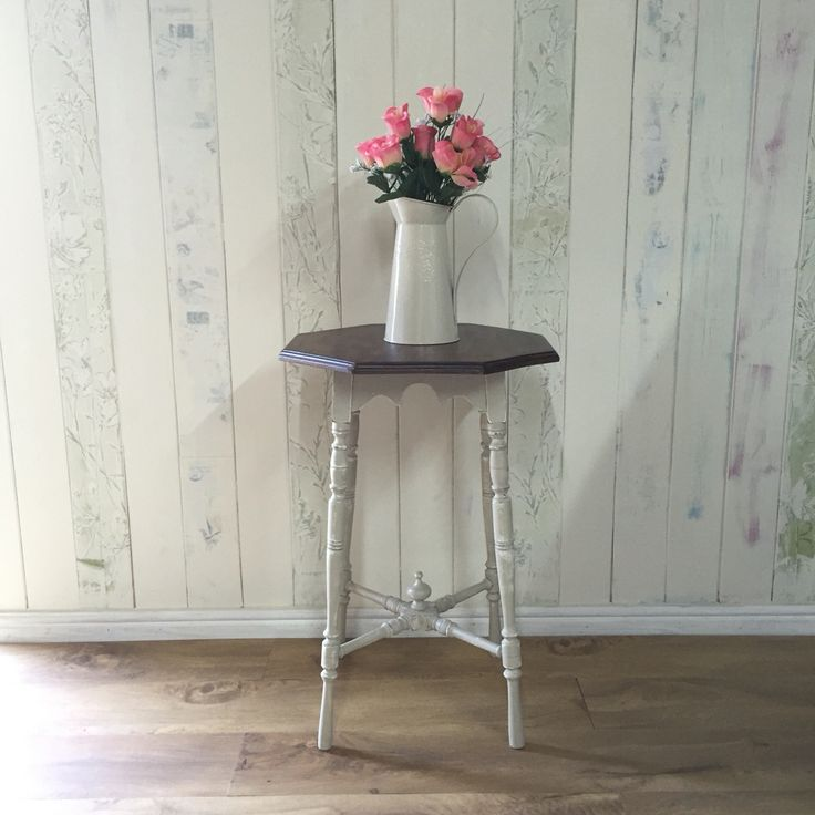 This pretty little antique table has been refinished in ASCP Country Grey over Old White, distressed, and sealed  with Annie's clear soft wax. For sale £85  H:67.5cm, W:50cm, D:50cm