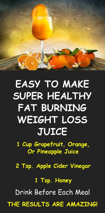 Easy To Make, Super Healthy, Fat Burning, Weight Loss Juice. 1 cup grapefruit, orange, or pineapple juice. Mix with 2 tsp. apple cider vinegar, and 1 tsp. honey. For more extreme weight loss and health benefits learn about alkaline rich Kangen Water; the hydrogen rich, antioxidant loaded, ionized water that neutralizes free radicals that cause oxidative stress which allows your body to perform at a more optimal level and burn fat more efficiently. LEARN MORE. #Fat #Burning #Weight #Loss…