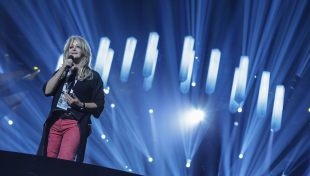 Bonnie Tyler representing the UK with 'Believe in Me'.