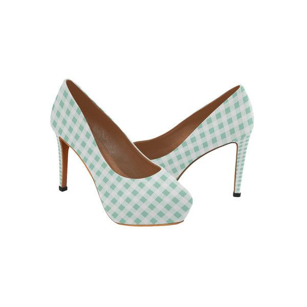 Mint Green Gingham Women's High Heels (Model 044) ($61) ❤ liked on Polyvore featuring shoes, mint high heel shoes, gingham shoes, high heeled footwear, high heel shoes and mint shoes