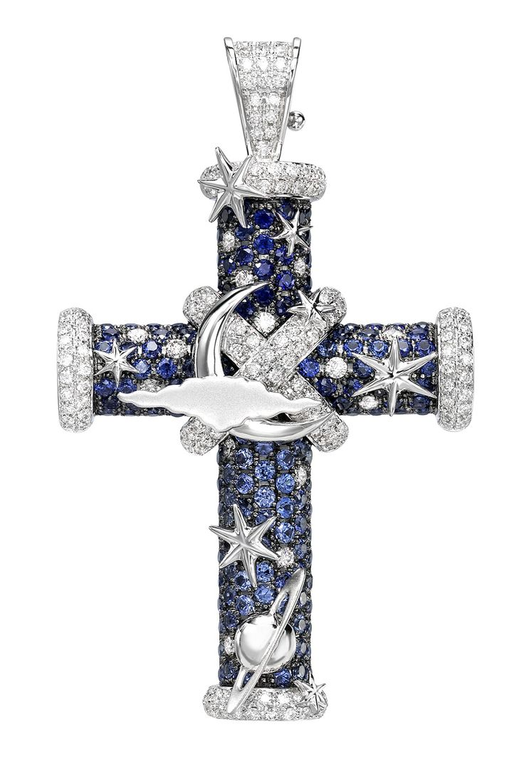 British jewellery designer Theo Fennell's Celestial Night cross pendant with sapphires and diamonds.