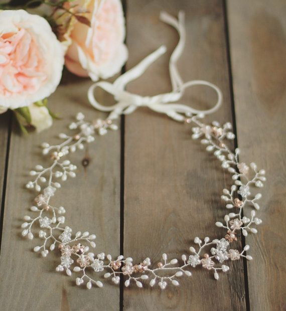 Bridal hair vine pearl and Swarovski crystal by JoannaReedBridal