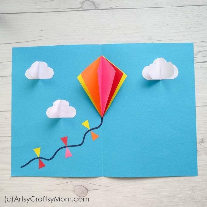 Diy Popup Kite Card For Sankranti Goruntuler Ile Okul Oncesi
