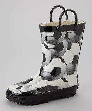 Take a look at this Black Soccer Rain Boot by Splash Away: Kids' Rain Boots on @zulily today!