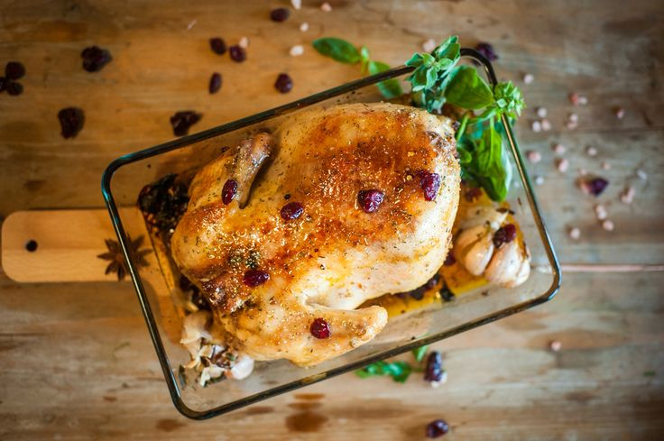 Chicken Cranberry with honey glaze and garlic and spices.