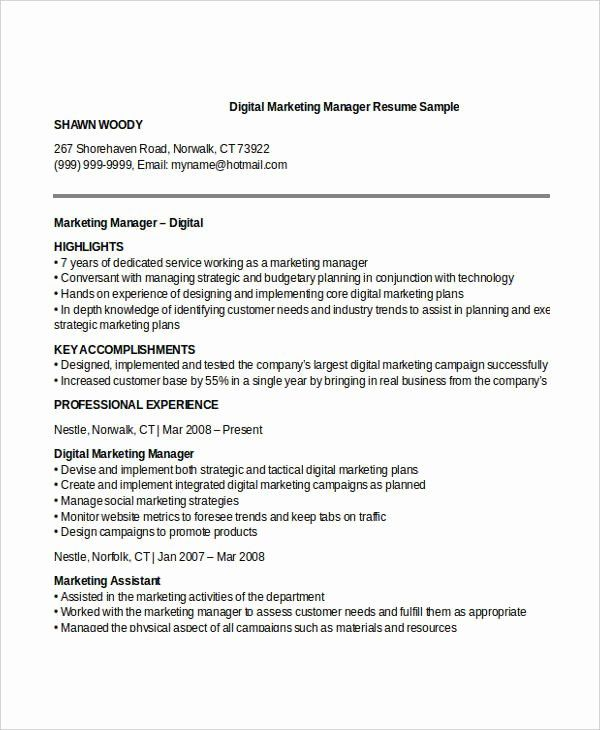 Digital Marketing Manager Resume Elegant 52 Professional Manager Resumes Pdf Doc Marketing Resume Project Manager Resume Manager Resume