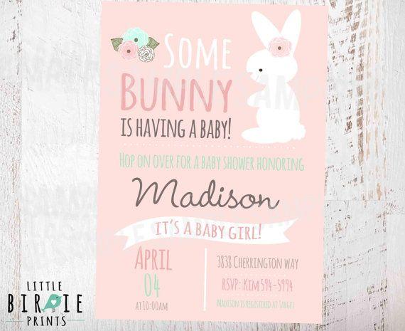 bunny baby shower invitation girl baby shower invitation baby shower