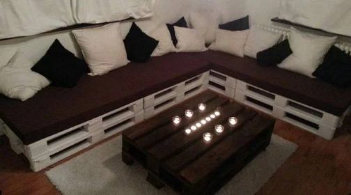Pohovky | POHOVKA trojsedák 200x200cm (výška 80cm) | Netradiční stylový nábytek - nábytek z palet.