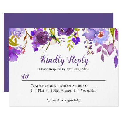 Watercolor Violet Purple Floral Wedding RSVP Reply Card - wedding invitations cards custom invitation card design marriage party