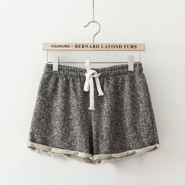 Women Elastic Waist Drawstring Elegant Beach Sport Pocket Cuffs Casual Brand Shorts