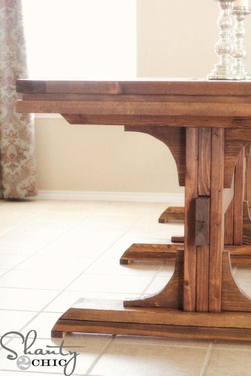 diy dining table triple pedestal farmhouse