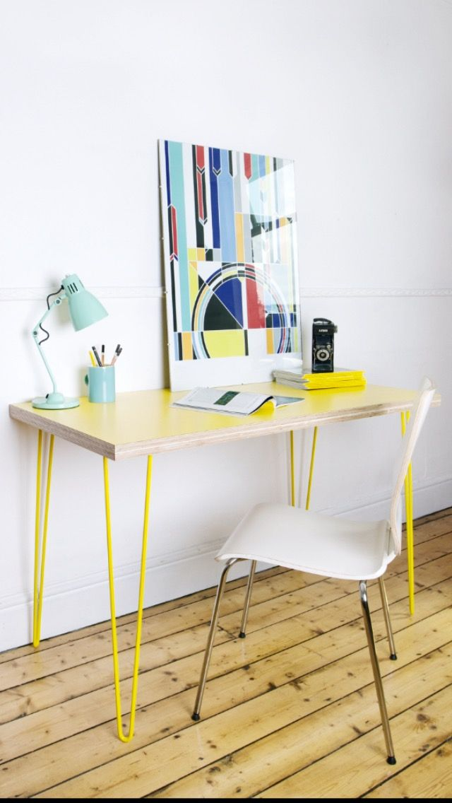 My first finished plywood desk, made using Birch plywood, yellow formica and matching hairpin legs.