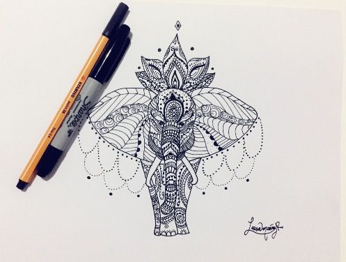 Black and white Elephant - Luisamr