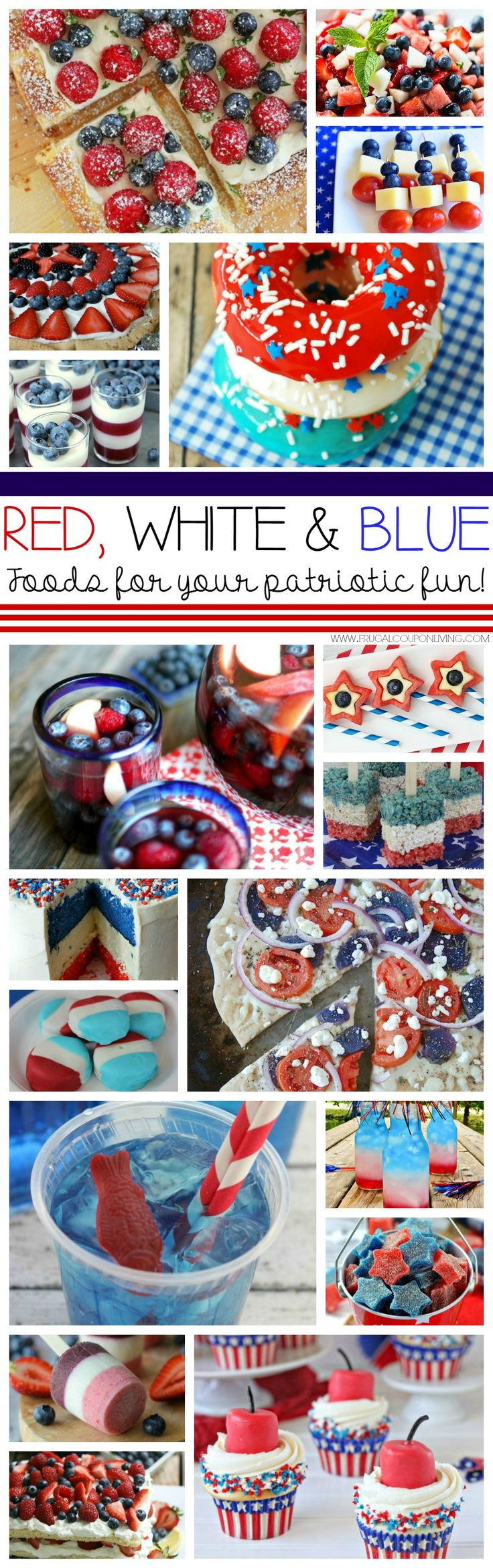 Red White and Blue Recipes for Your July 4th party ideas. Round-up from some of the best bloggers on the web on Frugal Coupon Living. Red white and blue food for an American Party.