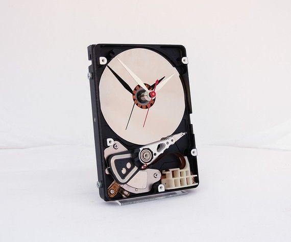 Awesome....might try this myself.  http://www.etsy.com/listing/90436822/clock-made-from-a-computer-hard-drive?ref=v1_other_2