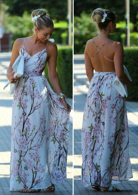 Albaricoque Florals V-cuello correas espaguetis sin espalda vestido maxi Tipo de Patrón: Floral Color: Albaricoque Estilo: Going Out