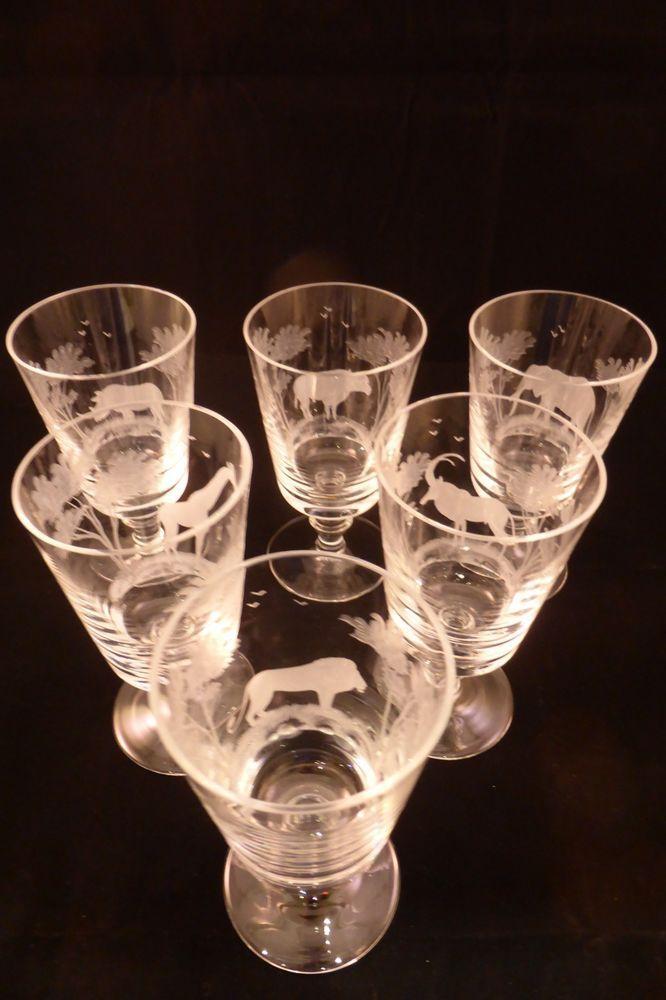 bb853cb138c 6 Rare Rowland Ward Kenya crystal wine glasses Moser etched Safari animals  13cm