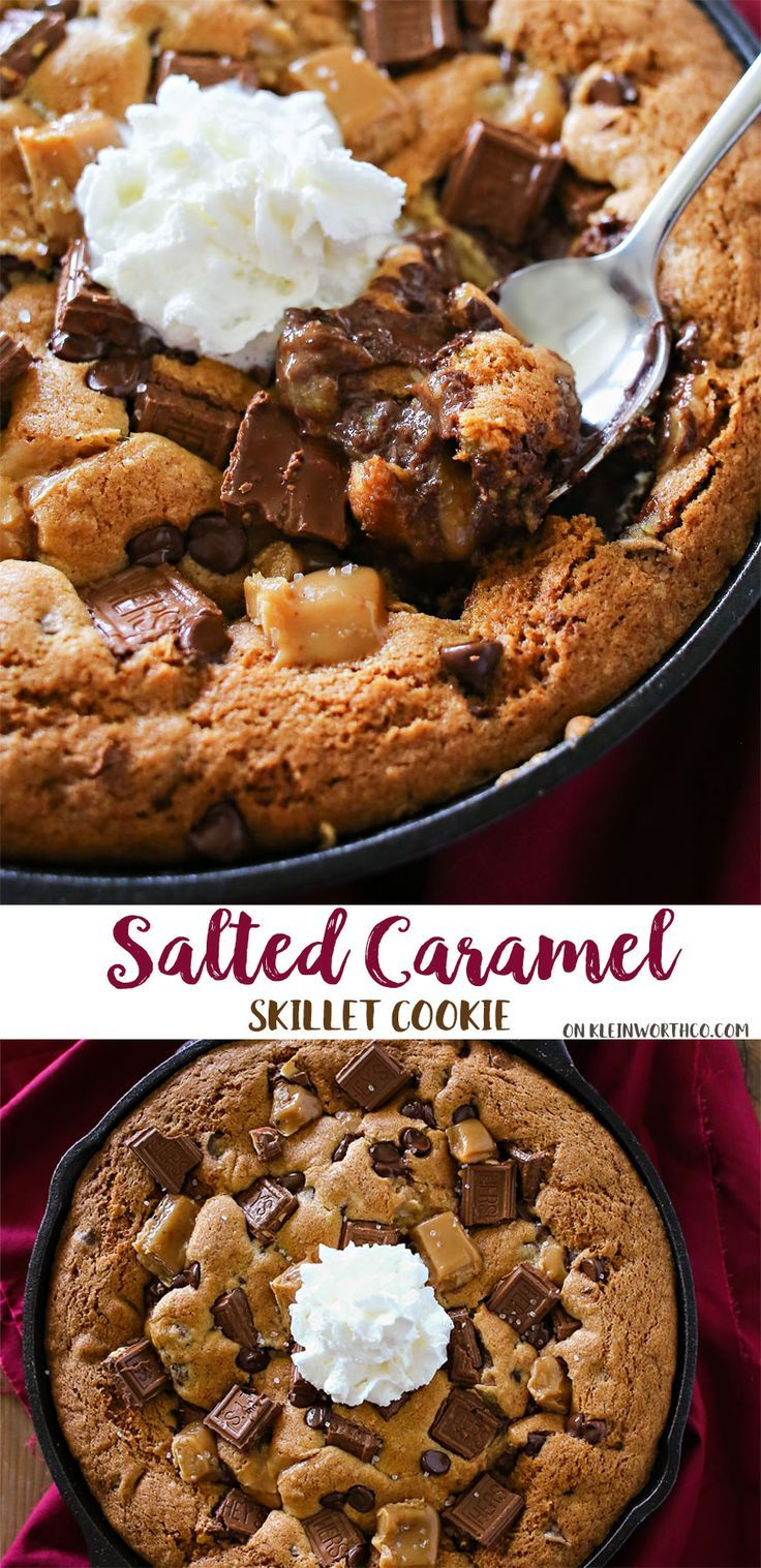 Salted Caramel Skillet Cookie is a thick chocolate chip cookie (often called a Pizookie) that's baked in a skillet & loaded with YUM! via @KleinworthCo