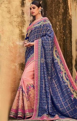 Aesthetic Blue Silk Top Blue And Peach Indian Half Sari   #HalfSarees #DesignerHalfSarees #HalfSareesDesigns #HalfSareesDesigns #EmbroideredSarees #EmbroideredSareesPatterns #DesignersAndYou #DesignerSarees #HeavyHalfSarees #TopHalfSarees #HalfSarees2017BestHalfSarees #BeautifulHalfSarees #HalfSareesDesign #HalfSareesPattern